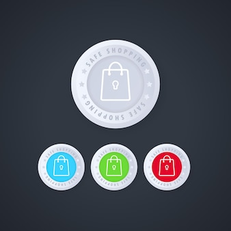Online safe shopping stamp button in 3d style
