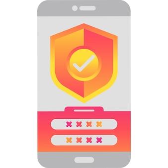 Интернет-безопасность мобильного телефона сервис векторный icon