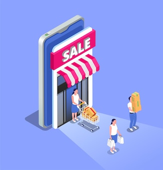 Online sale isometric composition with people coming out