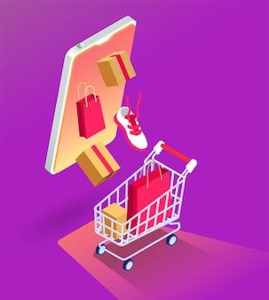Illustrazione isometrica di vendita online