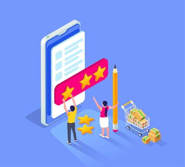 スマートフォンと小さな人間のキャラクターが売り手のイラストの評価星を設定するオンライン販売アウトレット等尺性構成