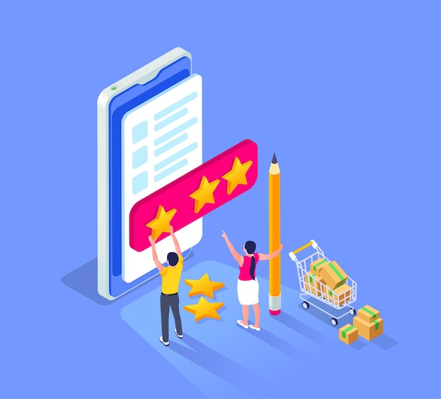 Online sale outlet isometric composition with smartphone and small human characters setting rating stars for seller illustration