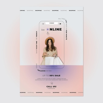 Online sale with discount poster template