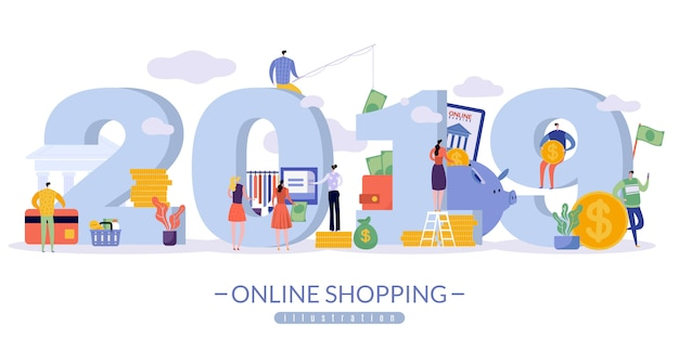 Online sales banner with the image of 2019 in large print