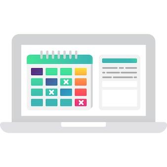 Интернет календарь календарь вектор. иконка ноутбук компьютер, изолированные на белом фоне. время, деловое мероприятие, планирование даты встречи. услуга напоминания о встречах