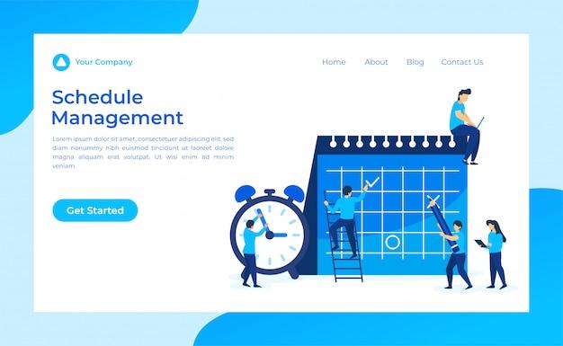 Online schedule management landing page