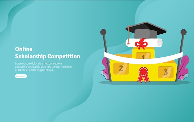 Online scholarship competition illustration banner