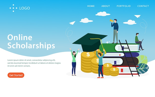 Online scholarship, landing page,  layered, easy to edit and customize, illustration concept