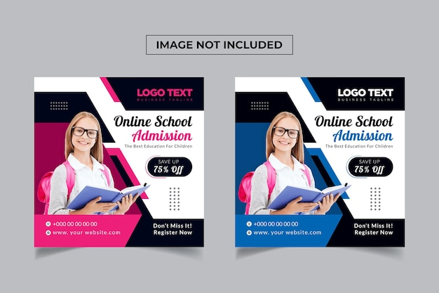 Online school admission social media post template