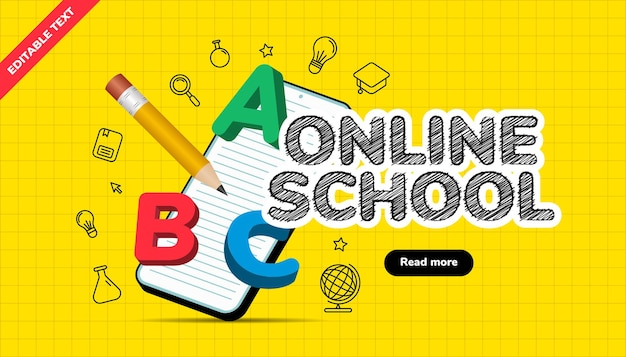 3dイラスト付きのオンライン学校バナー。デジタルインターネットのチュートリアルとコース、オンライン教育。ウェブサイトとモバイルアプリ開発用のバナーテンプレート。編集可能なテキスト効果。