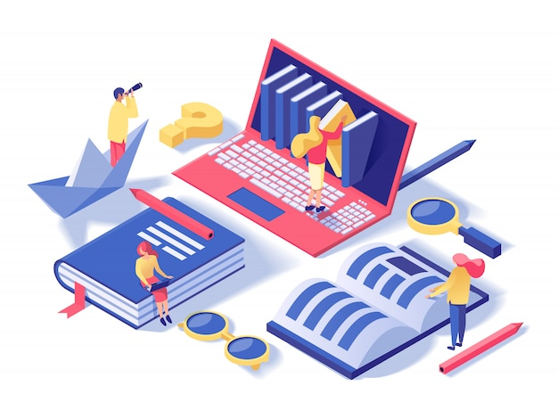 Online school, classes isometric