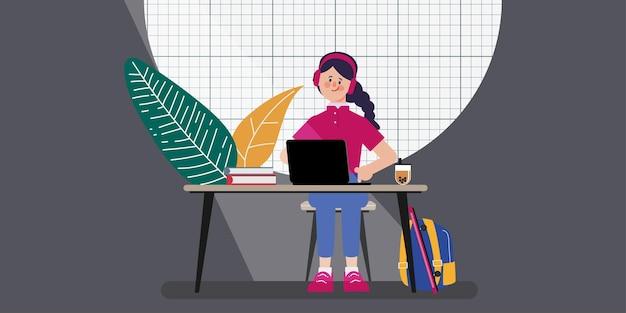 オンライン学校教育の概念の学生は家にいる
