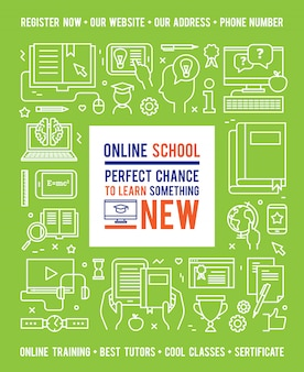 Online school education concept with caption in center and white line icons