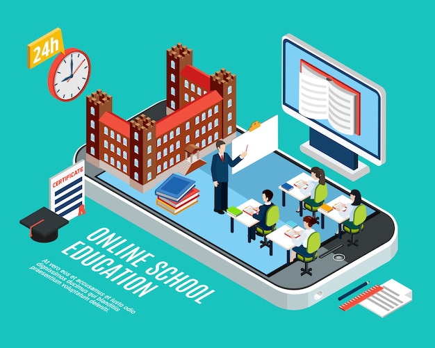 Online school education isometric concept with students at lesson computer and smartphone 3d vector illustration