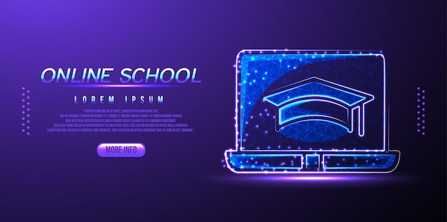 Online school low poly wireframe