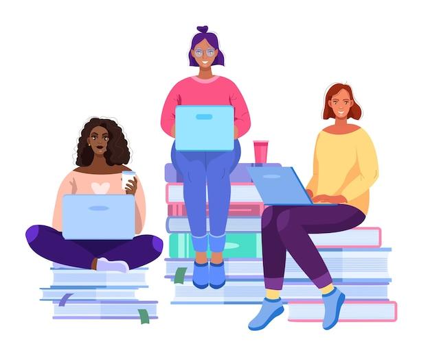 여성 공부와 온라인 학교 또는 대학 교육 개념. 책에 앉아 다양한 학생