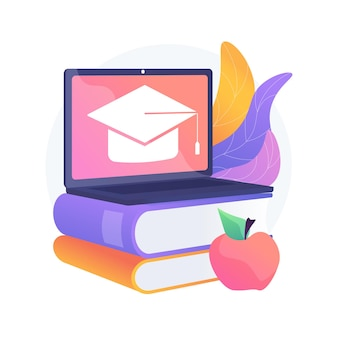 オンライン学校プラットフォームの抽象的な概念図。ホームスクーリング、オンライン教育プラットフォーム、デジタルクラス、仮想コース、学校向けlms