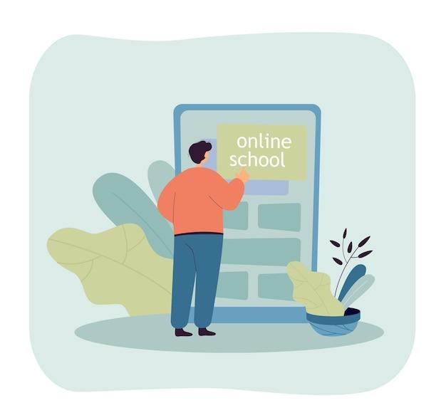 Online school student standing in front of huge smartphone