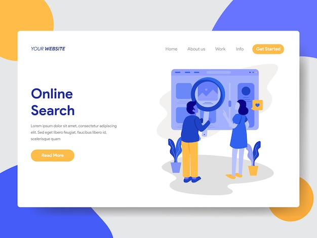 Online search illustration for web pages