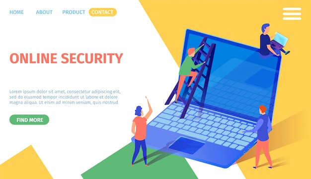 Online security banner tiny people at huge laptop
