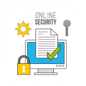 Online security flat line icons