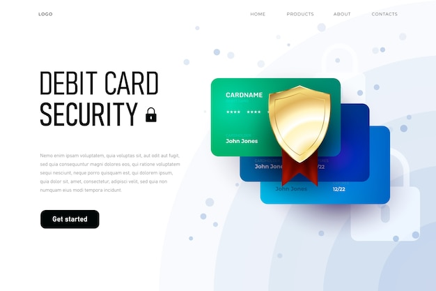 Online security fo debit card, overview homepage, three plastic card landing page template