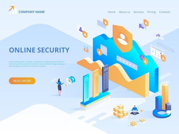 온라인 보안, 보안 인터넷 브라우징 방문 페이지, 웹 디자인, 배너 및 프레젠테이션을위한 데이터 보호 개념 그림