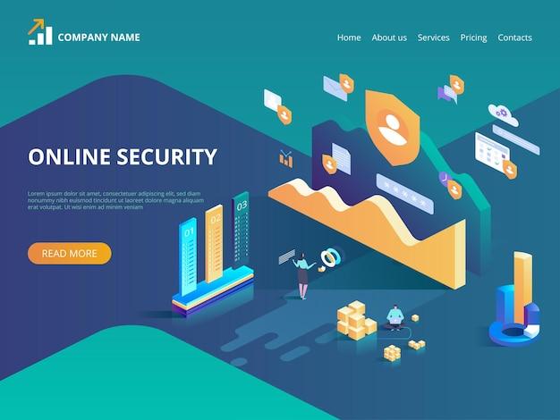 온라인 보안, 안전한 인터넷 브라우징. 데이터 보호 개념. 방문 페이지, 웹 디자인, 배너 및 프리젠 테이션을위한 아이소 메트릭 그림.