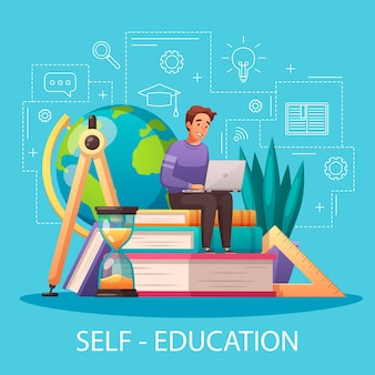 Online self education cartoon illustration with sitting on textbooks man with laptop outline style