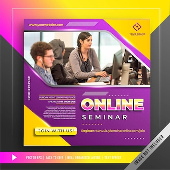 Баннер онлайн-семинара шаблон в социальных сетях