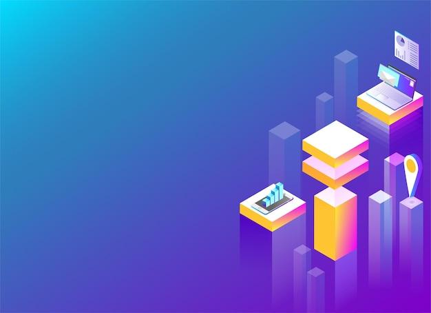 Онлайн-сервис и приложения в мегаполисе абстрактная изометрическая иллюстрация на фоне фиолетового спектра