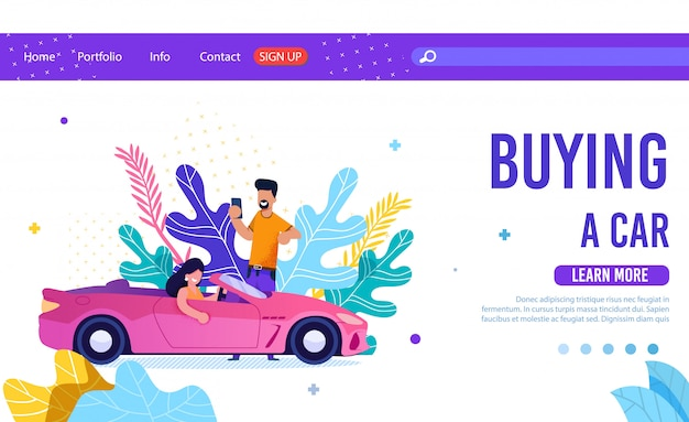 Online service for buying car flat landing page