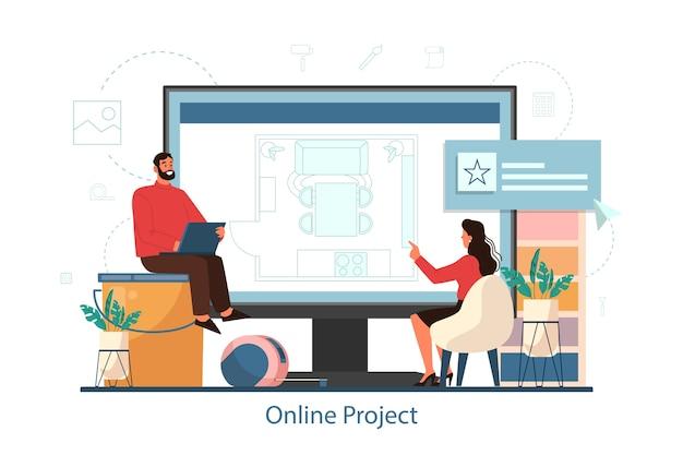 인테리어 디자인 프로젝트 개념에 대한 온라인 서비스. 장식가는 방의 디자인을 계획하고 벽 색상과 가구 스타일을 선택합니다. 주택 개조. 격리 된 평면 벡터 일러스트 레이 션