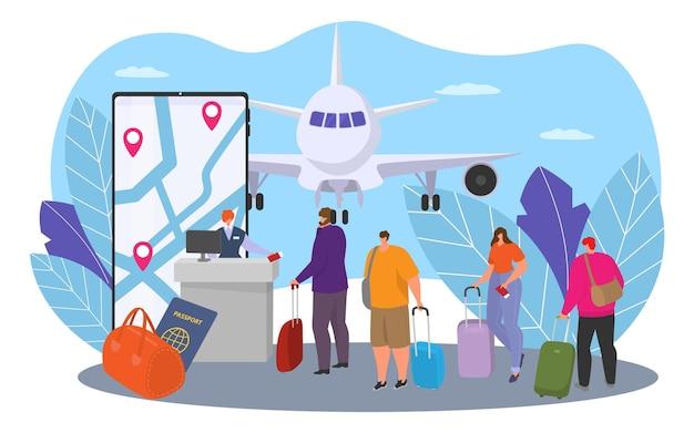 飛行機旅行ベクトルイラストフラットな人々のキャラクターのためのオンラインサービスは、旅行観光旅行を待つ...