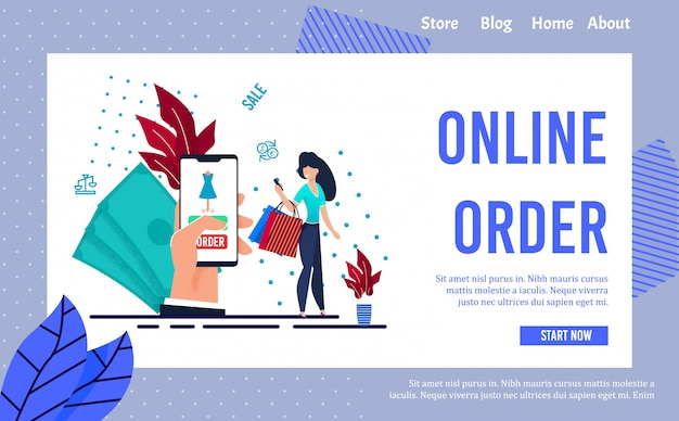 Online service to make clothes order landing page