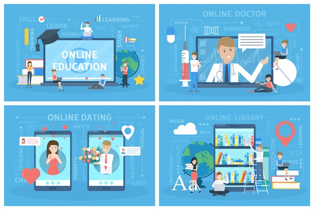 オンラインサービスセット。デートや教育、医者の相談。