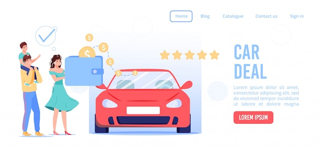 Online service for successful car deal landing page. family couple children making auto rental, carpool, carsharing agreement paying via e-wallet. internet automotive showroom digital application