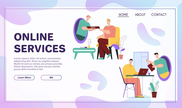 Online services. online ordering food from restaurant, courier home delivery. remote signing of agreement, electronic signature of documents. metaphor scene teleportation