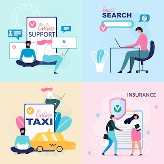 Online services and virtual support ad posters set
