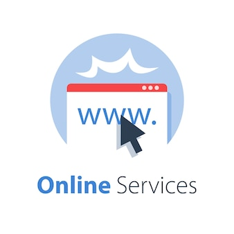 Online services, web page and cursor, provide access, illustration