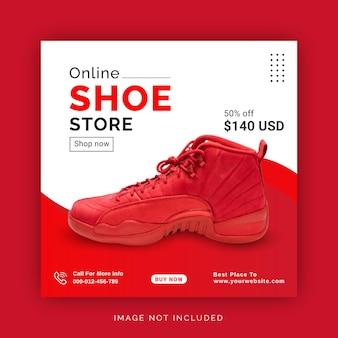 Online shoe store instagram banner ad social media post template