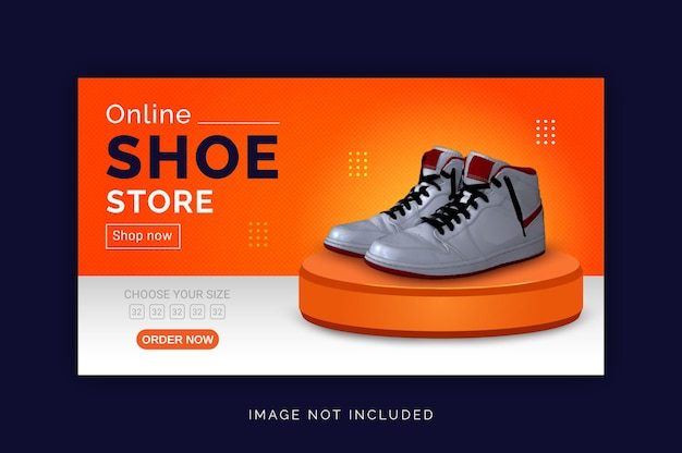 Online shoe store social media web banner template