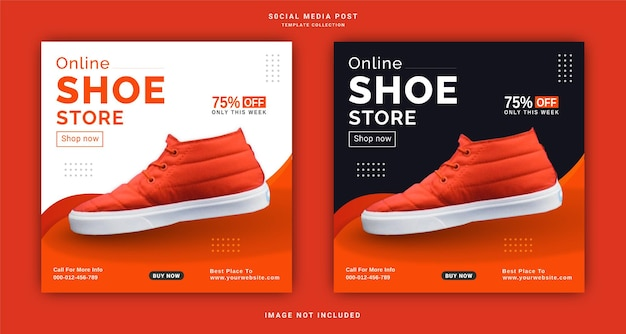 Online shoes store instagram banner ad social media post template