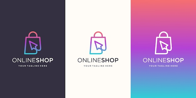 Online shop, bag combined with cursor logo designs template