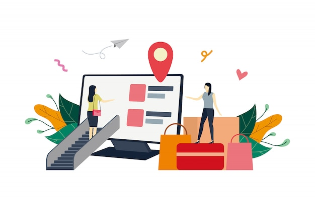 Online shop on computer screen, ecommerce market flat illustration with small people