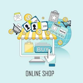 オンラインショップのコンセプト:ラインスタイルの仮想ストアとショッピングプロセス