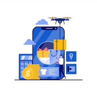 キャラクター付きモバイルアプリ画面のオンラインショップコンセプト。デジタルマーケティング、eコマース、配信サービス。ランディングページ、モバイルアプリ、ポスター、インフォグラフィック、ヒーロー画像のモダンなフラットスタイル。