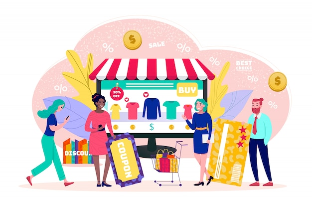 Online shop concept, sale, tiny people customers shoppers with visa online payment  illustration. online shop technology in internet. shopping cart, e-commerce technology, marketing.