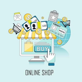 Online shop concept: a virtual store and shopping process in line style