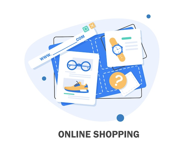 온라인 상점. 디지털 마케팅, 상점, 전자 상거래 쇼핑 개념. 스트라이프 천막, 평면 디자인 일러스트 레이션